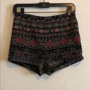 New UO high waisted tribal tapestry knit shorts